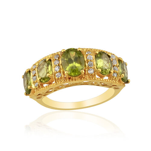 Hebei Peridot (Ovl 3.75 Ct), White Topaz Ring in 14K Gold Overlay Sterling Silver 4.000 Ct.