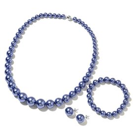 Blue Shell Pearl (Rnd) Graduated Necklace (Size 20) with Magnetic Clasp, Stretchable Bracelet (Size 7) and Ball Stud Earrings (with Push Back) in Rhodium Plated Sterling Silver