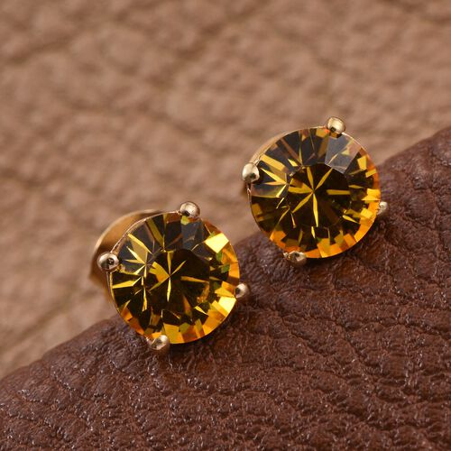 J Francis Crystal from Swarovski - Sunflower Crystal (Rnd) Stud Earrings (with Push Back) in 14K Gold Overlay Sterling Silver