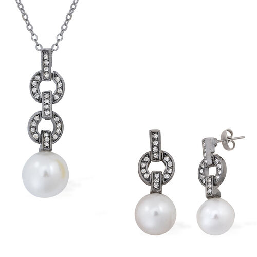 White Austrian Crystal and Simulated White Pearl Pendant With Chain (Size 18) and Earrings (with Push Back) in Black Tone