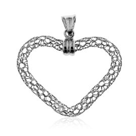Made in Italy Rhodium Plated Sterling Silver Heart Pendant