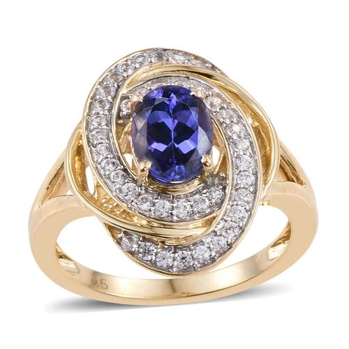 9K Yellow Gold Tanzanite (Ovl 1.50 Ct), Natural Cambodian Zircon Ring 2.000 Ct.