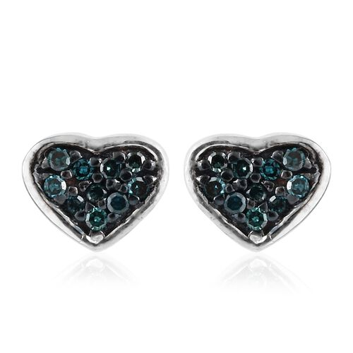 Blue Diamond Heart Stud Earrings (with Push Back) in Platinum Overlay Sterling Silver