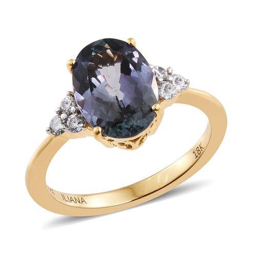 ILIANA 18K Yellow Gold 3.10 Ct AAA Peacock Tanzanite Ring with Diamond SI G-H
