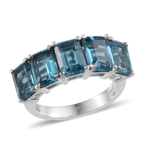 Electric Swiss Blue Topaz (Oct) 5 Stone Ring in Platinum Overlay Sterling Silver 5.500 Ct.