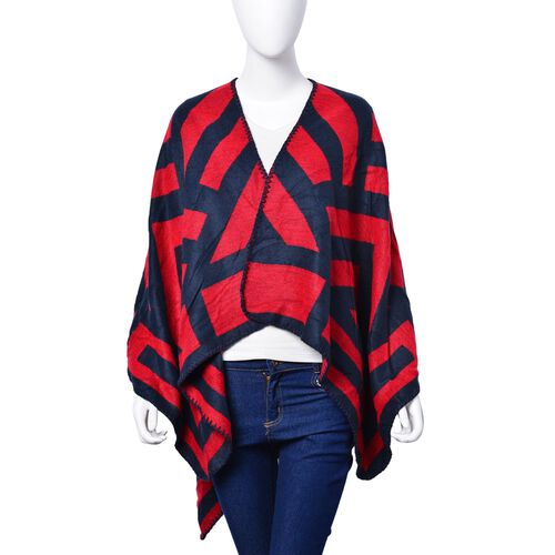 Red and Black Colour Stripe Pattern Reversible Poncho (Size 130x60 Cm)