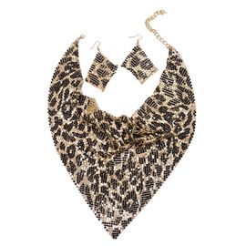 Glittering Gold and Black Colour Leopard Pattern Collar Necklace (Size 20 with 2 inch Extender) and Hook Earrings in Gold Tone