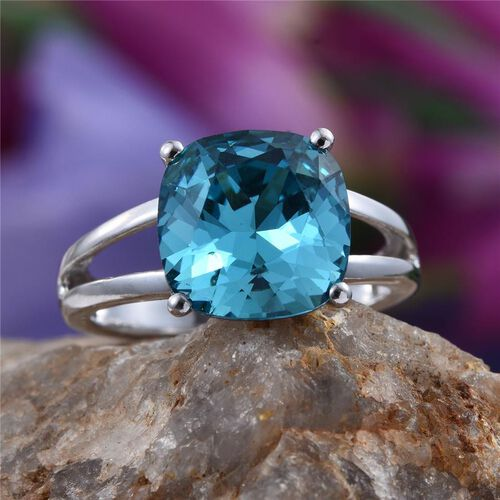 Crystal from Swarovski - Aquamarine Colour Crystal (Cush) Solitaire Ring in Platinum Overlay Sterling Silver