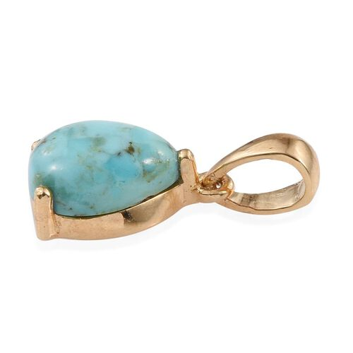 Arizona Matrix Turquoise (Pear) Solitaire Pendant in 14K Gold Overlay Sterling Silver 1.750 Ct.