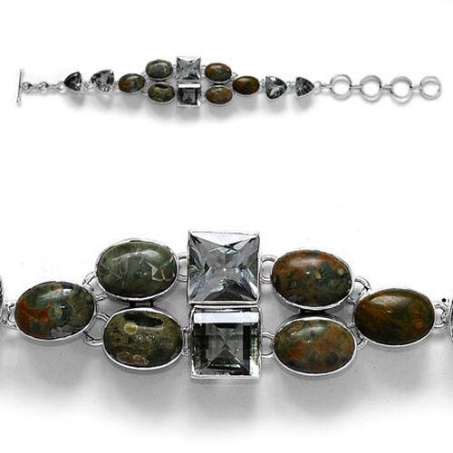 Last One- Sterling Silver Ryolite,Brazilian Green Amethyst Bracelet  45.50  Ct.