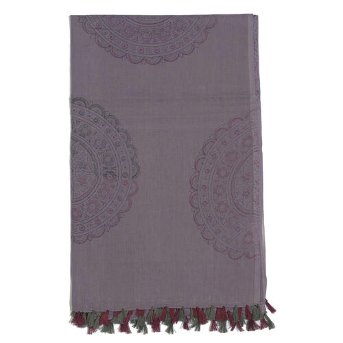 100% Cotton Flowers Printed Purple and Black Colour Scarf (Size 175x105 Cm)