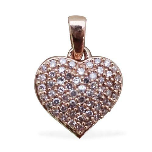9K Rose Gold Natural Pink Diamond (Rnd) Heart Pendant 0.250 Ct.