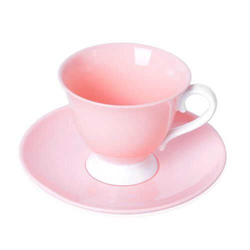 Set of 4 Light Pink Ceramic Tea Cups (9X8CM) with Set of 4 Saucer (14 Cm)