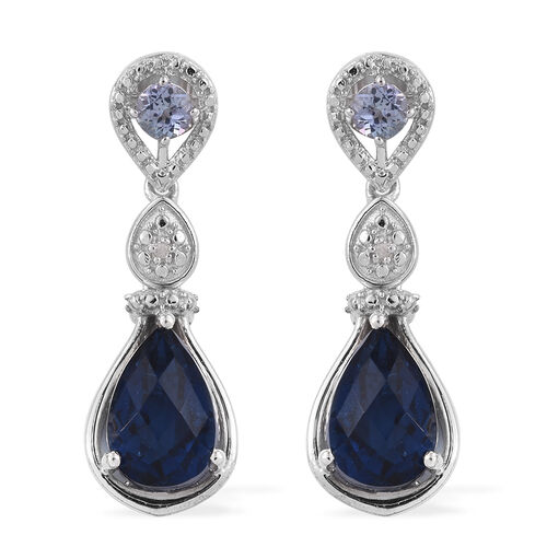 Checkerboard Cut Ceylon Colour Quartz (Pear), Bondi Blue Tanzanite and Diamond Earrings (with Push Back) in Platinum Overlay Sterling Silver 7.770 Ct.