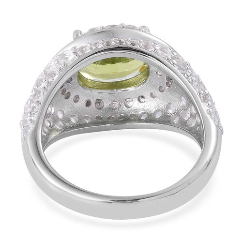 Hebei Peridot (Ovl 2.75 Ct), White Topaz Ring in Platinum Overlay Sterling Silver 4.600 Ct.