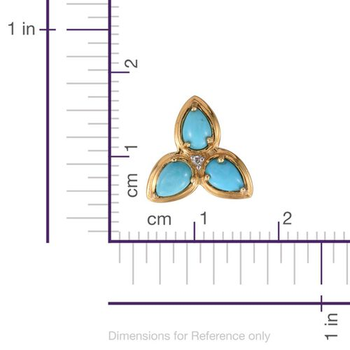 Arizona Sleeping Beauty Turquoise (Pear), Diamond Stud Earrings (with Push Back) in 14K Gold Overlay Sterling Silver 2.000 Ct.