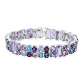 New York Close Out - Brazilian Amethyst (Bgt), Swiss Blue Topaz, Sky Blue Topaz and Multi Gemstone Bracelet (Size 6.75) in Rhodium Plated Sterling Silver 24.250 Ct. Silver wt 16.90 Gms.