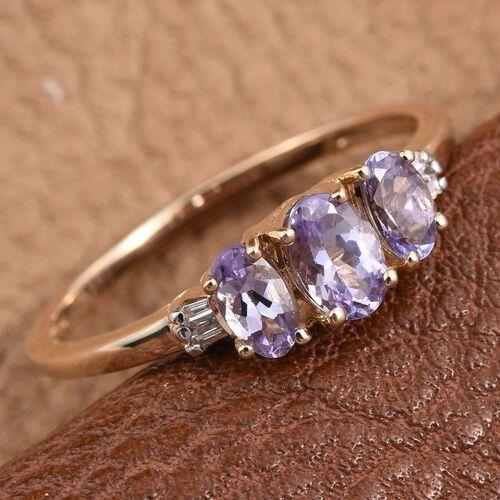 14K Y Gold Rare Natural Pink Tanzanite (Ovl 0.50 Ct), Diamond Ring 1.030 Ct.