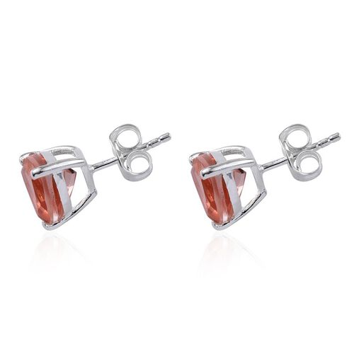 Morganite Colour Quartz (Trl) Stud Earrings (with Push Back) in Sterling Silver 3.750 Ct.