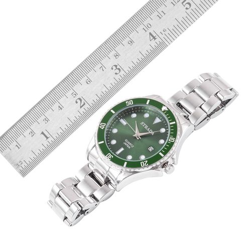 STRADA Japanese Movement Green Sunshine Dial Water Resistant Watch in Silver Tone with Stainless Steel Back