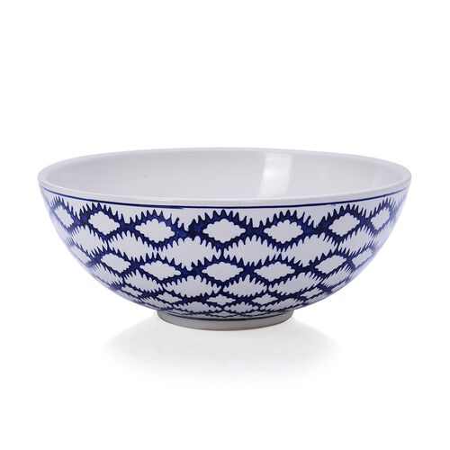 Classic Chinese Blue Colour Wave Pattern White Colour Round Shaped Bowl (Size 25x10 Cm)