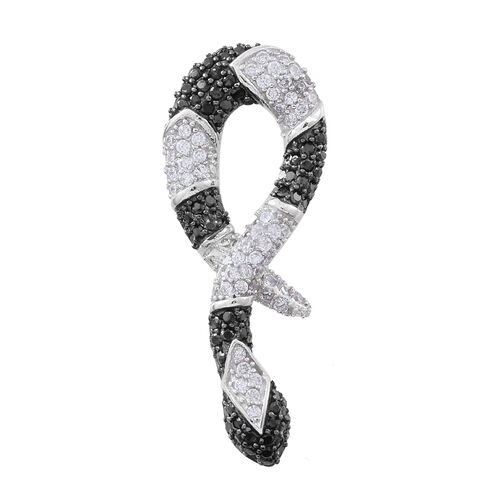 Designer Inspired - Boi Ploi Black Spinel (Rnd), Simulated White Diamond Snake Pendant in Rhodium Plated Sterling Silver 4.750 Ct.