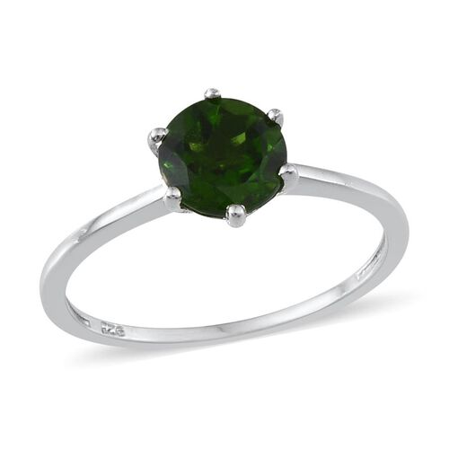 Russian Diopside (Rnd) Solitaire Ring in Platinum Overlay Sterling Silver 1.250 Ct.