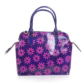 100% Genuine Leather Purple and Pink Colour Handpainted Flower RFID Blocker Tote Bag with External Zipper Pocket (Size 35x33x28x14 Cm)