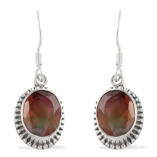 Rainbow Genesis Quartz (Ovl) Hook Earrings in Sterling Silver 7.230 Ct.
