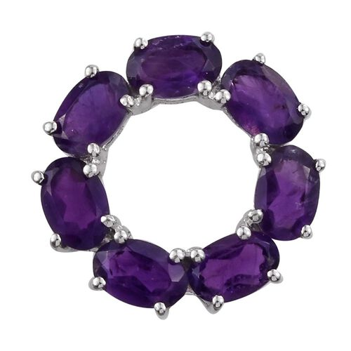 Amethyst (Ovl) Circle Pendant in Platinum Overlay Sterling Silver 2.750 Ct.