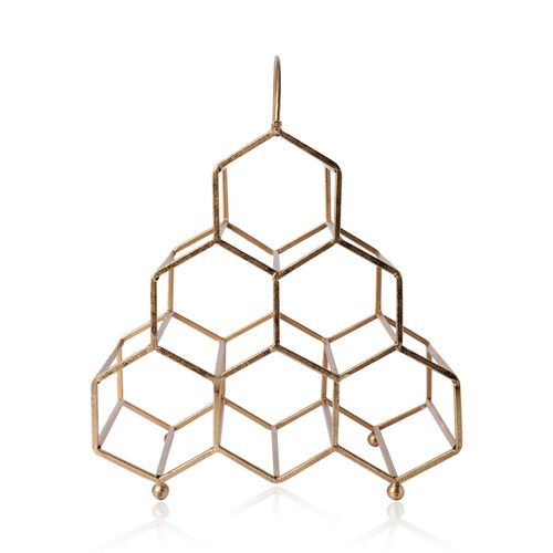 Geometric Design Wine Rack (Size 38x32x17.8 Cm)