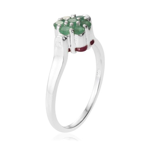 African Ruby (Rnd), Brazilian Emerald Reversible Ring in Sterling Silver 1.500 Ct.