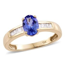 9K Yellow Gold 0.90 Ct AA Tanzanite Ring with Diamond (G-H)