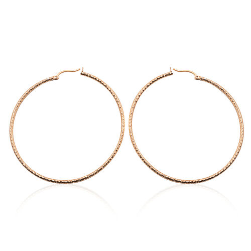 Close Out Deal 14K Gold Overlay Sterling Silver Hoop Earrings (with Clasp), Silver wt 6.00 Gms.