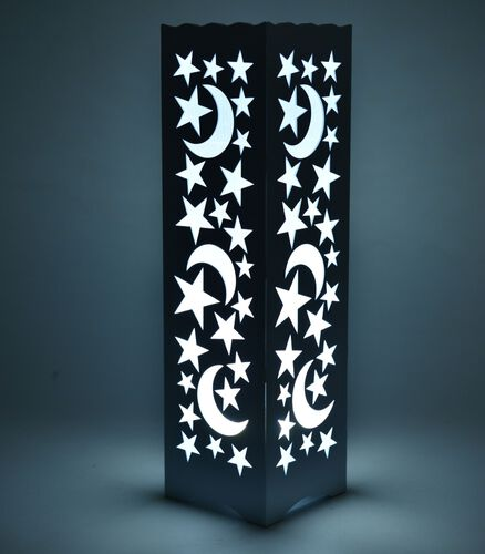 Home Decor - Moon and Star Pattern White Colour LED Lamp (Size 33X9 Cm)