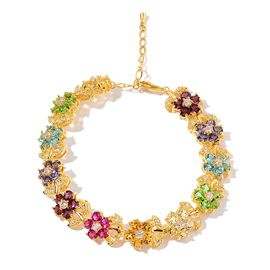 AAA Multi Colour Austrian Crystal and Simulated Diamond Floral Bracelet (Size 7.5 with 1 inch Extender) in Yellow Gold Tone