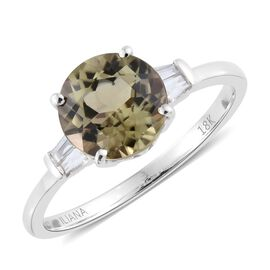 ILIANA 18K White Gold AAA Turkizite (Rnd), Diamond (SI G-H) Ring 2.250 Ct.