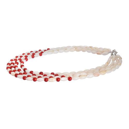 Red Shell and White Shell Necklace (Size 17) in Silver Tone 20.000 Ct.