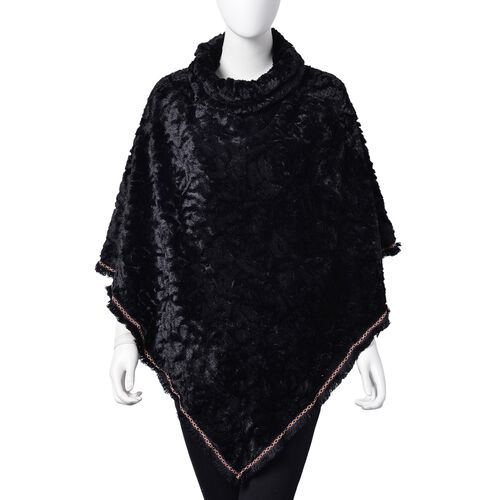 Rose Pattern Faux Fur Poncho - Black (One Size)