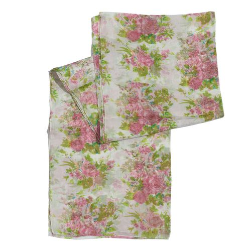 100% Silk Pink and Multi Colour Floral Pattern White Colour Scarf (Size 180x50 Cm)