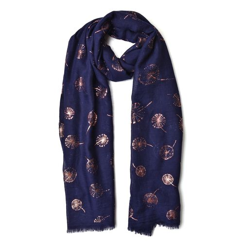 Golden Dandelion Pattern Navy Colour Scarf with Fringes (Size 180X70 Cm)