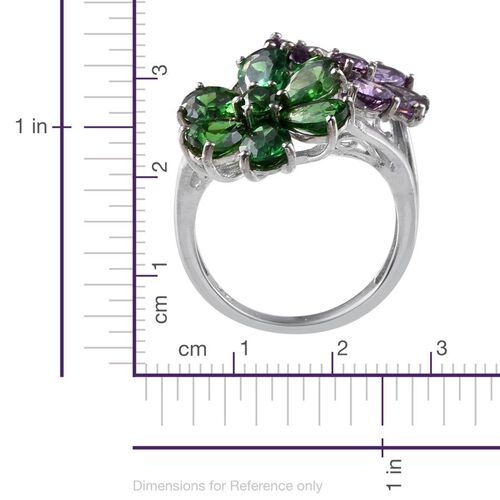 AAA Simulated Amethyst (Pear), Simulated Emerald Twin Floral Ring in ION Plated Platinum Bond