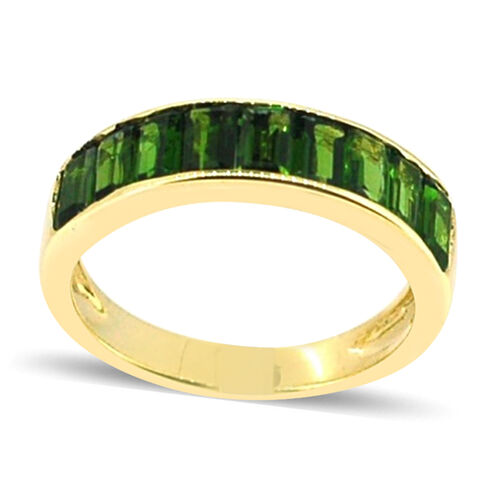 AA Russian Diopside (Oct) Half Eternity Band Ring in 14K Gold Overlay Sterling Silver 2.500 Ct.