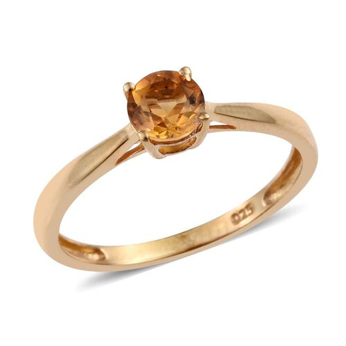 Citrine (Rnd 0.50 Ct) Solitaire Ring, Pendant and Stud Earrings (with Push Back) in 14K Gold Overlay Sterling Silver 1.750 Ct.