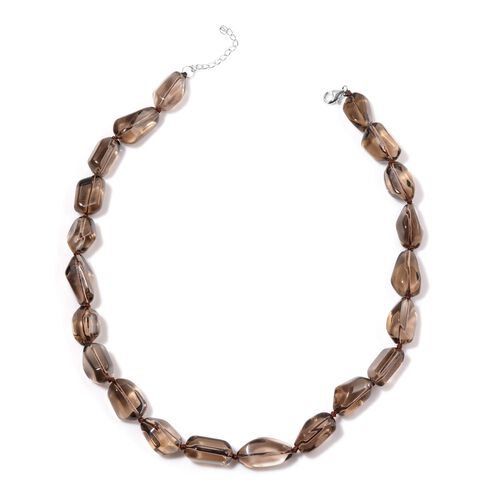 Brazilian Smoky Quartz Necklace (Size 18) in Sterling Silver 385.000 Ct.