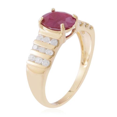 9K Y Gold AAA Burmese Ruby (Ovl 2.15 Ct), Diamond (I3/G-H) Ring 2.750 Ct.
