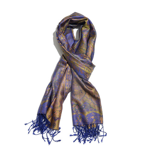 SILK MARK - 100% Superfine Silk Purple, Golden, Green and Multi Colour Floral and Paisley Pattern Jacquard Jamawar Scarf with Fringes (Size 180x70 Cm) (Weight 125-140 Grams)