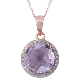 CHECKERBOARD CUT Birthday Mega Deal- Rose De France Amethyst (Rnd) Solitaire Pendant with Chain in Rose Gold Overlay Sterling Silver 3.150 Ct.