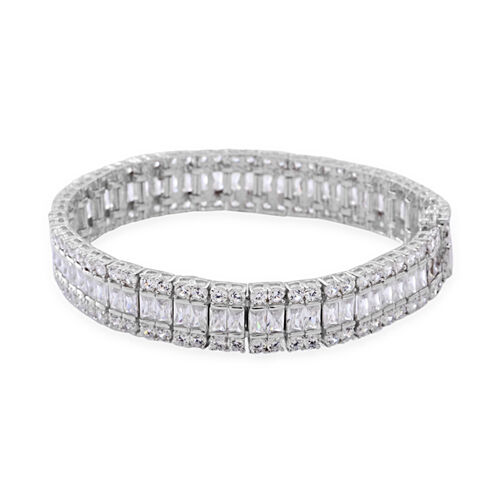 AAA Simulated White Diamond (Oct) Bracelet (Size 8.5) in Sterling Silver