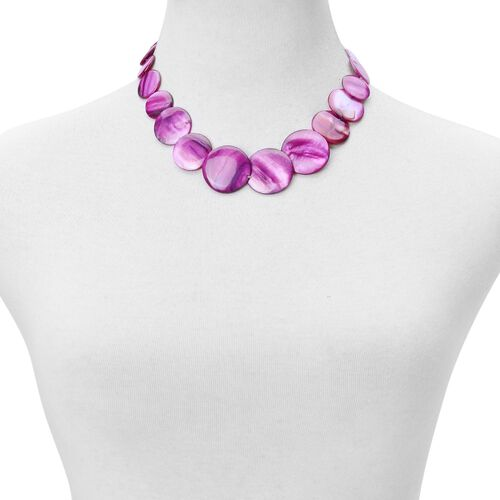 Purple Shell Coin Necklace (Size 21 with Extender), Stretchable Bracelet (Size 7) and Hook Earrings in Stainless Steel